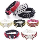 "Внешний вид - RAZOR SHARP Spiked Studded Rivet PU Leather Dog Pet Puppy Collar 2"" Large BLACK"