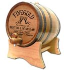 Finegold Bistro Whiskey Wine Glasses Personalized White Wood Oak Barrel, Choose