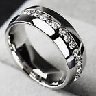 Sz6-13 Men/Women CZ Couple Stainless Steel Wedding Ring Titanium Engagement Band