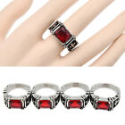 Red Crystal Cross Onyx Gemstone Stainless Ring Jewellery Gothic Vintage Unisex