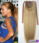 "New 16""-22"" High Ponytail Clip-in Human Remy Hair Extension With Drawstring 80G"