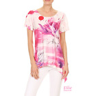 Women Floral Brush Pink/Purple Dipped Hem Short sleeve T-shirt Top (S/M/L/XL)