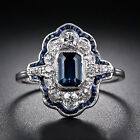 Jewelry 925 Silver Clear & Sapphire Women Wedding Cocktail Ring Size 6-10