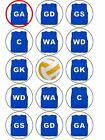 Netball Positions Vests Ball Edible Toppers Wafer Icing cupcake x 15 BLUE