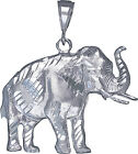 Sterling Silver Elephant Charm Pendant Necklace Diamond C...