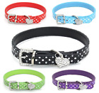 Внешний вид - Pet Cat Dog Adjustable PU Leather Polka Dot Rhinestone Buckle Neck Dotted Collar