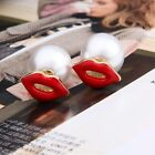 Fashion Womens Red Lip Simulated Pearl Earrings Mouth Style Stud Wedding Jewelry