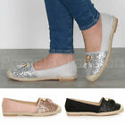 WOMENS LADIES FLAT GLITTER TASSEL SLIP ON CASUAL ESPADRILLES PUMPS SHOES SIZE