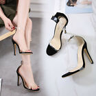 Womens Party Stiletto Open Toe Sexy Clear Ankle Strap Buckle High Heel Sandals