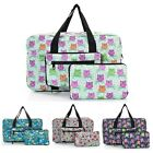 Folding Holdall HAND LUGGAGE SIZE Waterproof Lightweight Bird Designs - Flamingo