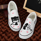 Women Kittens Cat Fish Hand Painted Shoes Boy Girls Slip-on Fashion Canvas Shoes