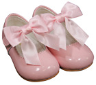 Bow shoes girl LEATHER patent baby Spanish christening bridesmaid wedding