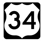 Us Route 34 Sticker Decal R1043 Highway Sign Road Sign