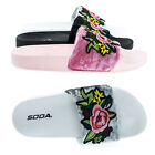 Yoshi Furry Floral Embroidery Patch Work, Slip On Slide Sandal Molded Footbed