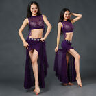 New 2017 Women Lace Belly Dance Costumes Performance 2Pics Top & Long Skirt