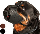 Leather Dog Muzzle Rottweiler Secure Basket Black Brown