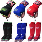 Boxing Fist Padded Inner Hand Wraps Gloves Shin Instep Pads MMA Leg Foot Guards