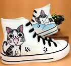 Children's Hand-painted Cute Cat Canvas Shoes Sweet Lace-Up Comfy Flats Shoes