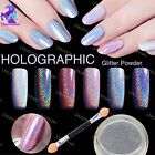 HOLOGRAPHIC NAIL POWDER 2g RAINBOW Glitter Effect Ultra Thin Silver Dust Holo UK