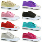 GIRLS KIDS CHILDRENS LACE UP SEQUIN GLITTER PARTY PLIMSOLLS TRAINERS PUMPS SIZE