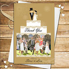 Personalised Gold Cake Tier Wedding Day Thankyou Thank you PHOTO Cards N179