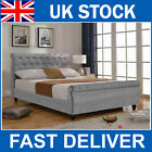 Hot Sale - Luxury Grey Silver Velvet Upholstered Fabric Sleigh Chesterfield Bed