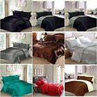 3 Pc 6 Pc LUXURY SATIN BED SETS BEDDING DUVET COVER FITTED SHEET PILLOWCASES