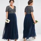 Plus Size Sequins Mother Of The Bride Dress Evening Bridesmaid Gowns Tulle HD272