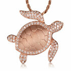 Sea Turtle Pink Rose Gold Plated Rhodium Sterling Silver Pendant Cubic Zirconia
