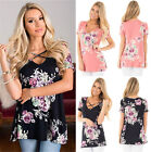 UK Womens Floral Print V Neck Short Sleeve Ladies Casual Tops T-Shirt Blouse