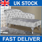 Presale!!! Luxury Elegant Silver Crushed Velvet Fabric Upholstered Chaise Longue