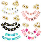 Happy Birthday Banner Set Paper Tassel Pompom Ball Party 1st Table Hanging Decor