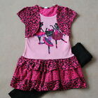NEW GIRLS Toddler Kid's  Clothes Short sleeve Pink Leopard Ruffle dress suit