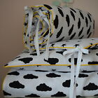 MONOCHROME 100%COTTON Cot Bed Duvet Cover Set Boys BLACK Stars Clouds reversible
