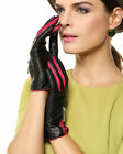 WARMEN Women's Lambskin Leather Gloves Two Tone with Zip Decoration on Back