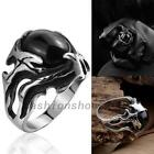 Hot Sales Round Shape Black Stone Silver Stainless Steel Mens Ring