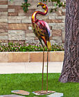 Colorful Peacock Flamingo Metallic Bird Art Metal Statue Yard Garden Lawn Decor