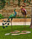 Colorful Peacock Owl Rooster Flamingo Metallic Bird Art Statue Yard Garden Lawn