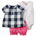 Carters Navy & Pink 3-Piece Bubble Shorts Set NWT Baby Girl Clothes 6 & 9 Months