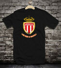 AS Monaco distressed soccer t-shirt camiseta jersey black white red colors