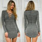 Women Knitting V Neck Long Sleeve Sweater Dress Lace up Tight Bodycon Mini Dress
