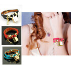 Women Genuine Leather Wrap Bracelet Key Lock Bangle Snap Cuff Designer Fashion