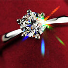 WOW Fashion Women Silver Plated Jewelry Filled Wedding Engagement Crystal Ring