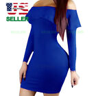 Women Evening Party Cocktail Bandage Bodycon Winter Dress Casual Long Sleeve Top