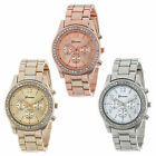 Geneva Quartz Analog Stainless Steel Band Lady Women Crystal Wrist Watch Steady