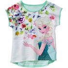 Disney Girls Frozen Sublimation Shirt Hi Lo Elsa Striped Back White/Mint NEW