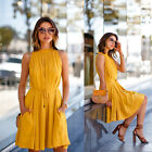 Women Summer Casual Sleeveless Evening Party Beach Dress Short Mini Dress