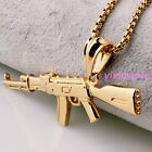 Fashion Men's Silver Gold Black Stainless Steel AK-47Gun Pendant Chain Necklace