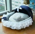 New Princess Lace Handmade Cozy Pet Dog Cat Bed House Sofa Bed Pink/Grey Size M
