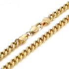 Mens Gold 316L Stainless Steel Link Twist Chain Curb Necklace 18 20 22 24 inch